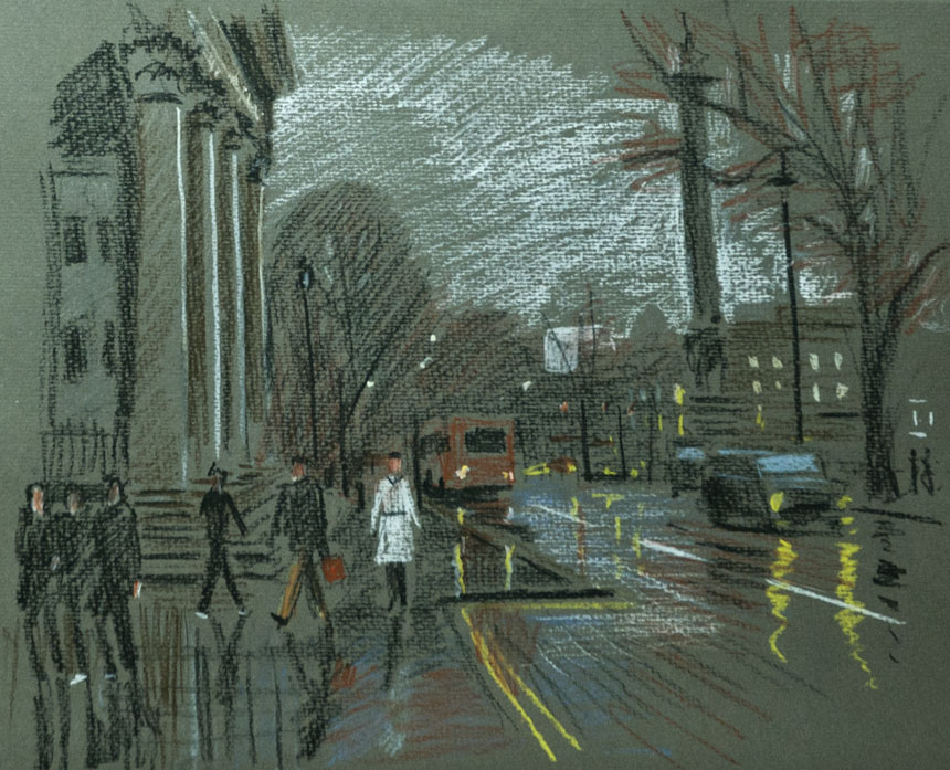 London, Charing Cross, St Martins, pastel, drawing