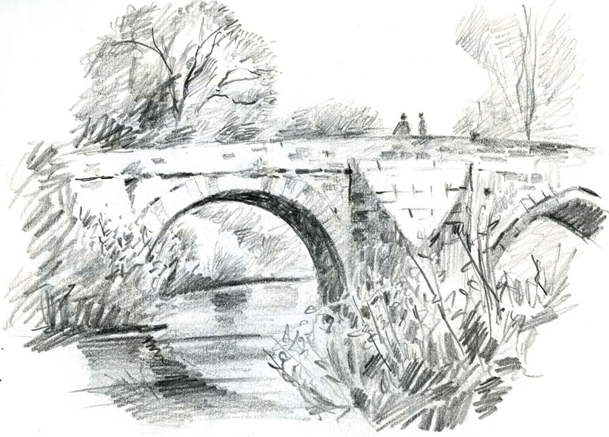 Mordiford, bridge, Wye, valley, sketch, pencil