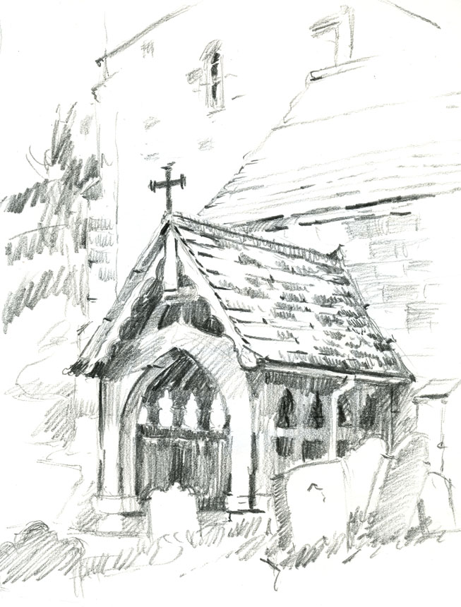 Drawing, Woolhope, church, porch