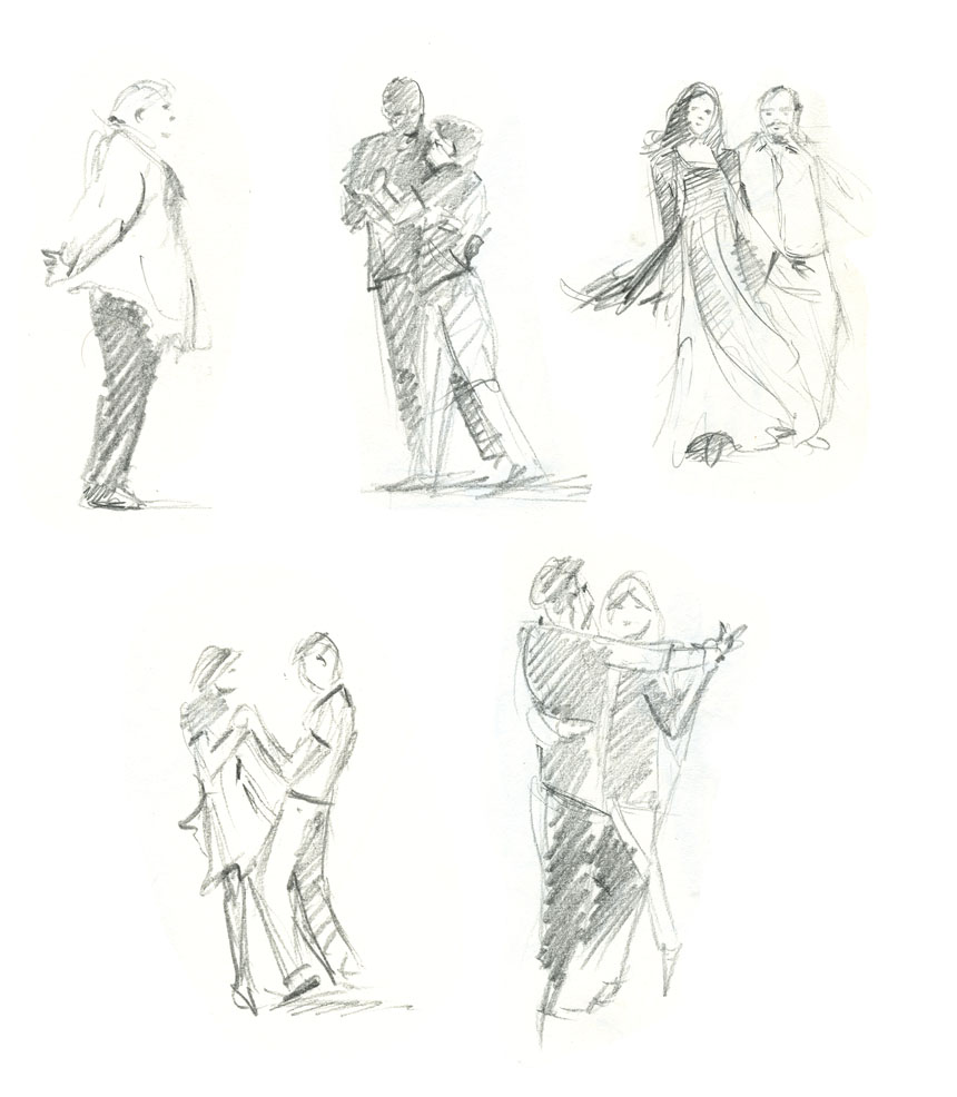 drawing, dancers, sketch