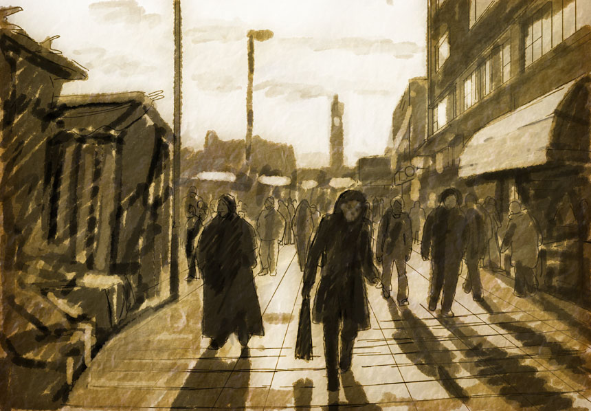 Lewisham, market, London, drawing, Rob Adams
