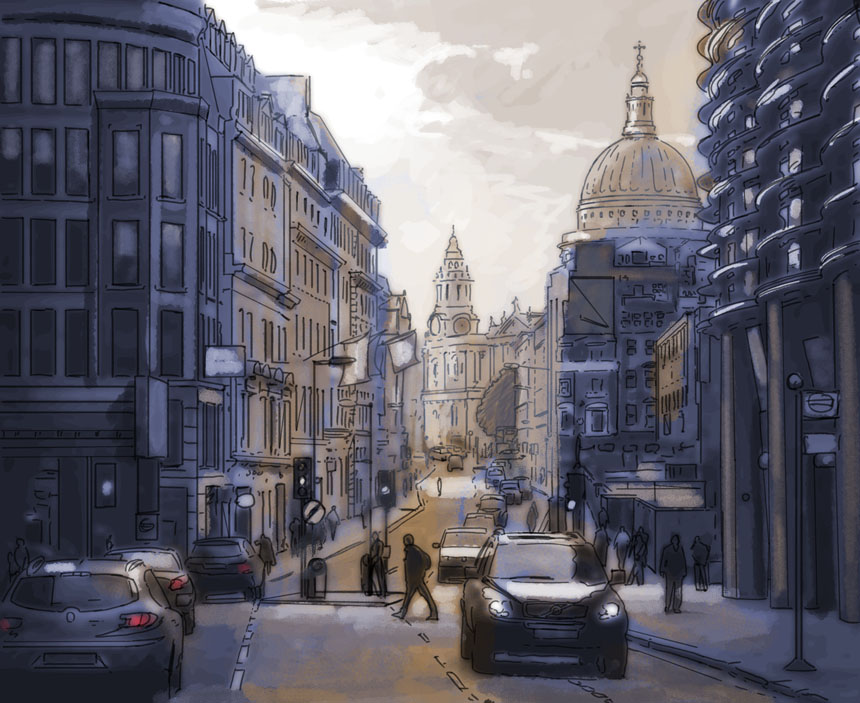 London, photoshop, sketch