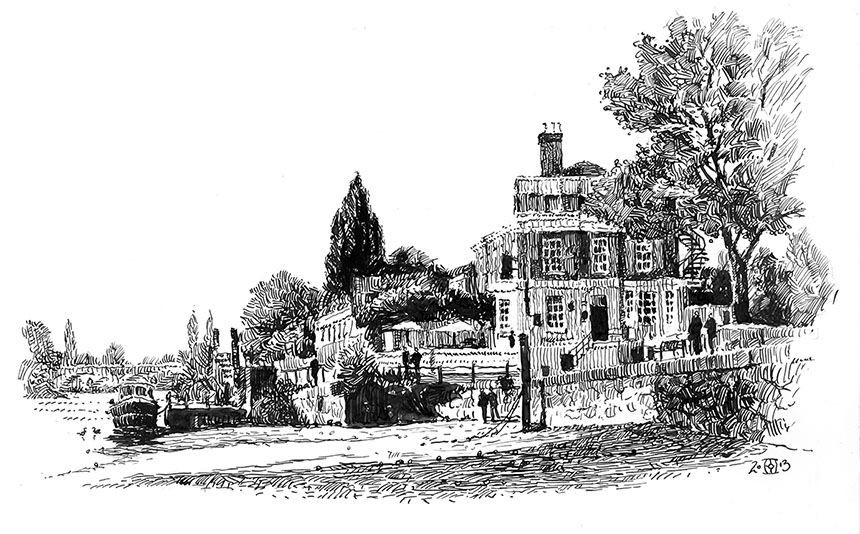 Pen drawing, Richmond, Thames
