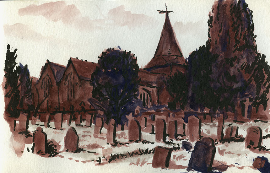Westerham Church, drawing