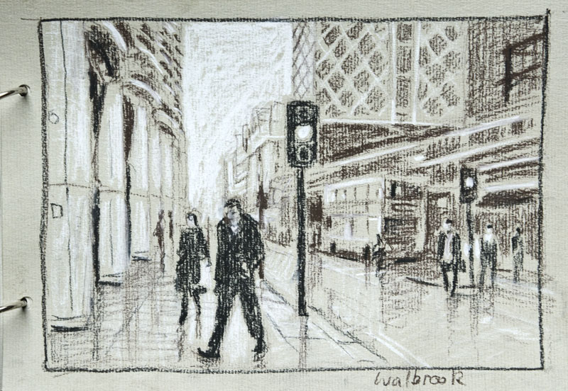 London, sketch, drawing, study, Cannon St