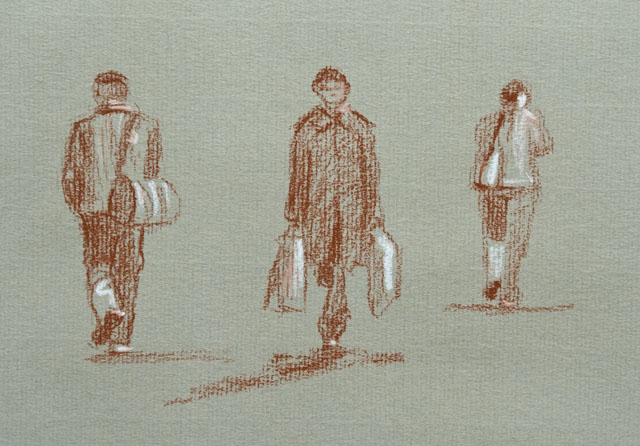 people, tourists, drawing
