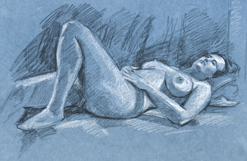 Life drawing, nude, figure, pastel
