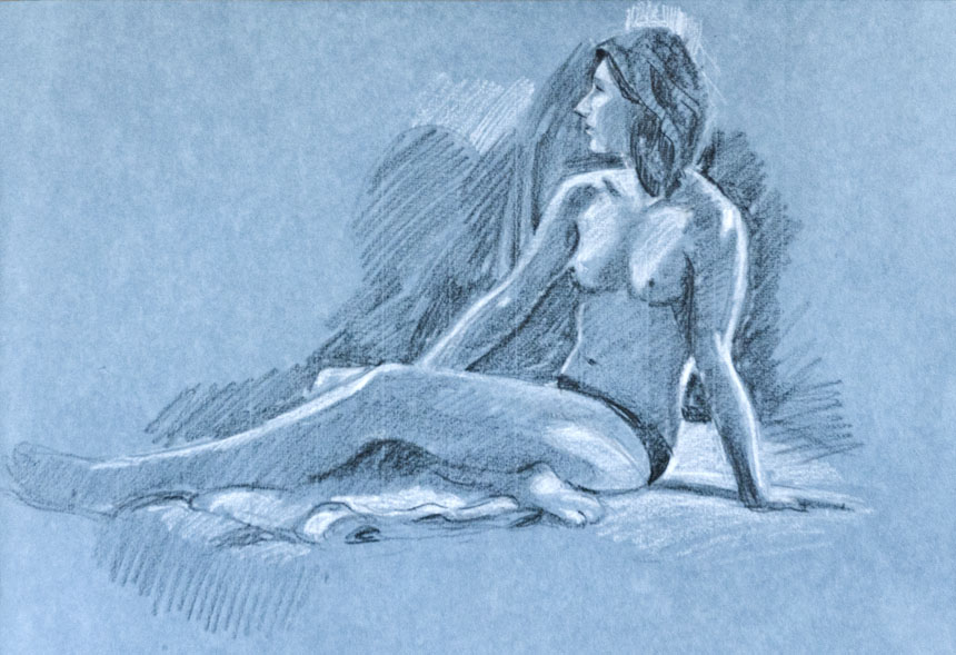 Life drawing, nude, pastel