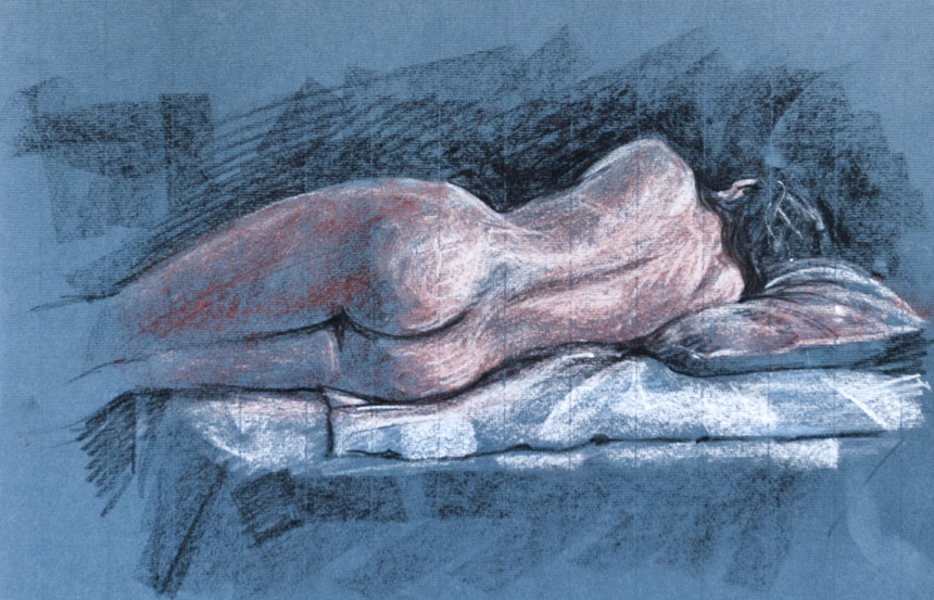 Life Drawing, figure, nude, pastel