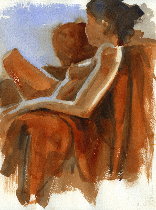 Nude, Life Drawing, figure, watercolour, Rob Adams