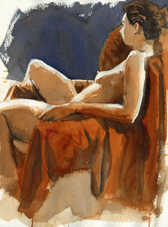 Life drawing, figure, nude, watercolour, Rob Adams