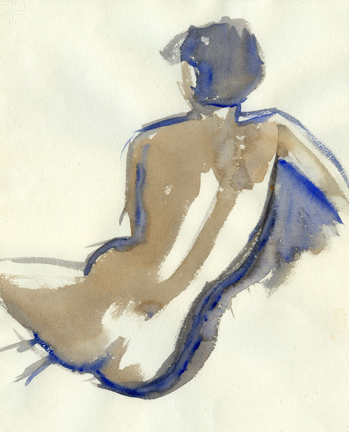 Nude, life drawing, figure, watercolour, painting, Rob Adams
