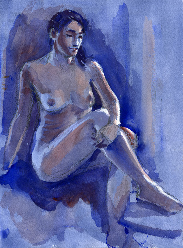 Life drawing, nude, watercolour, figure, Rob Adams