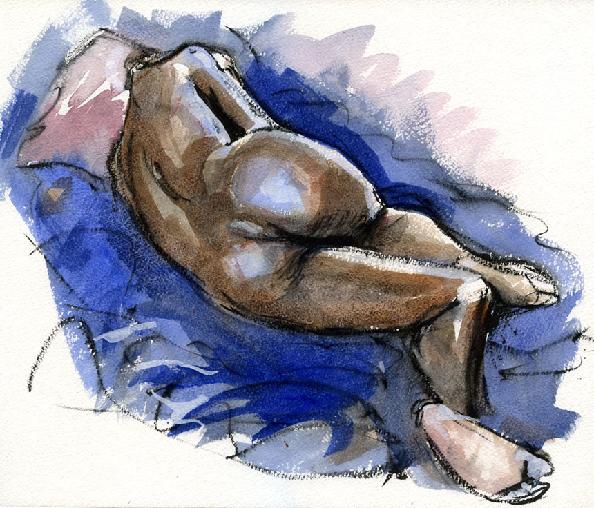 Life drawing, nude, watercolour