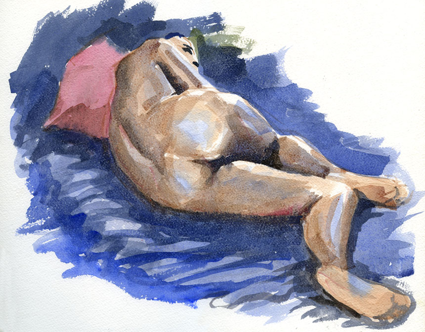 Life drawing, watercolour, nude