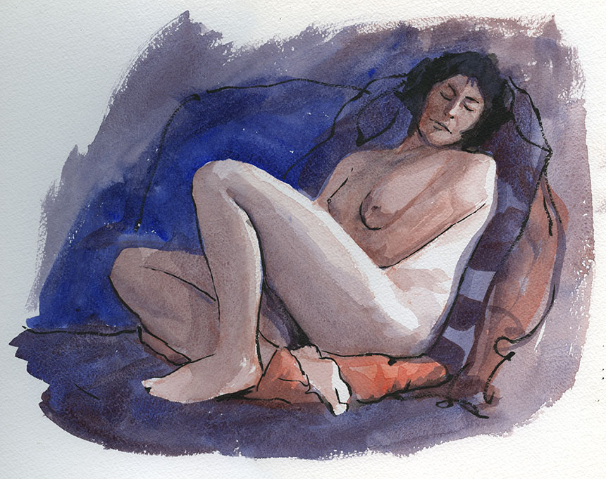 life drawing, watercolour, figure