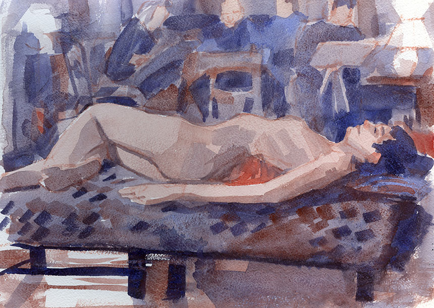 nude, figure, life drawing, watercolour