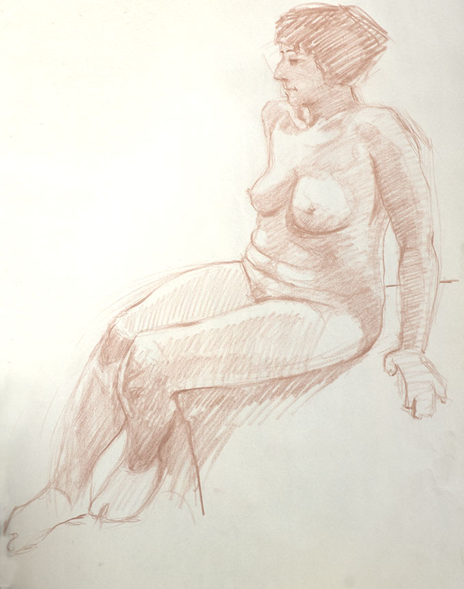 Nude, life drawing, charcoal