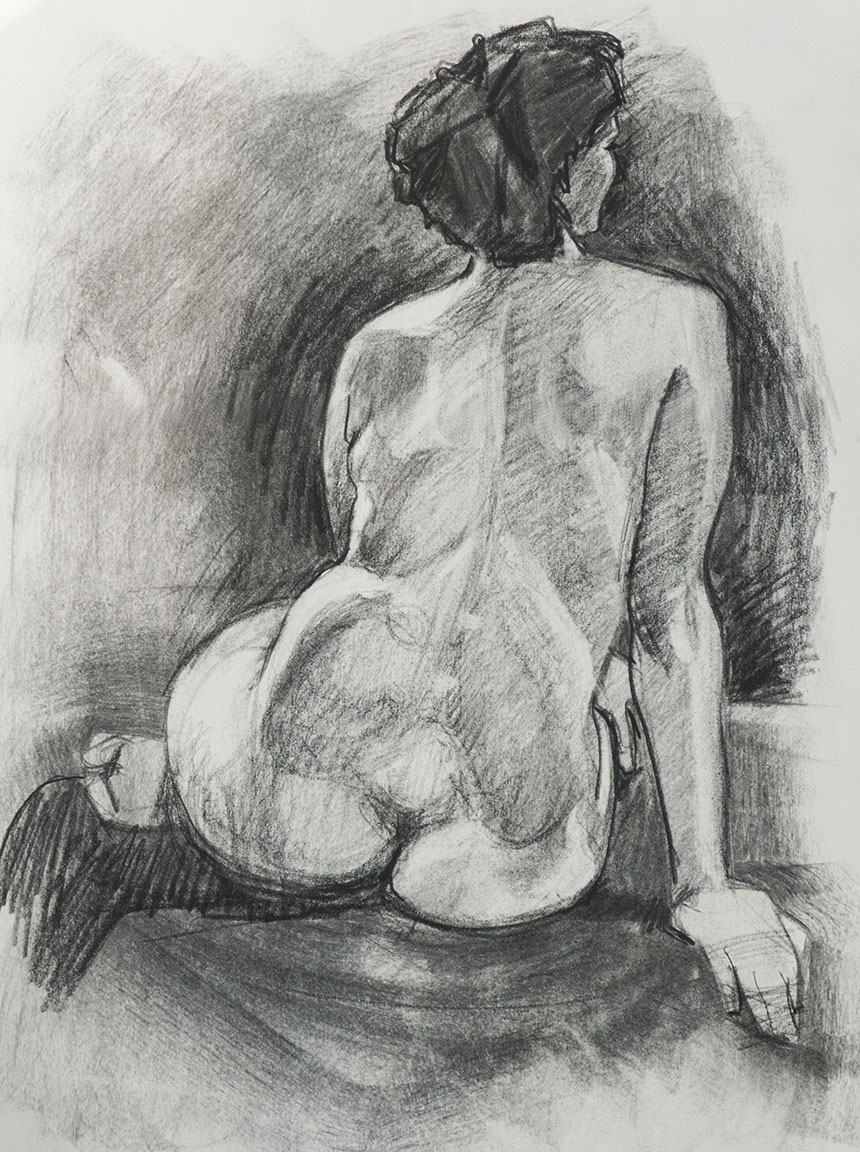 Life drawing, nude charcoal