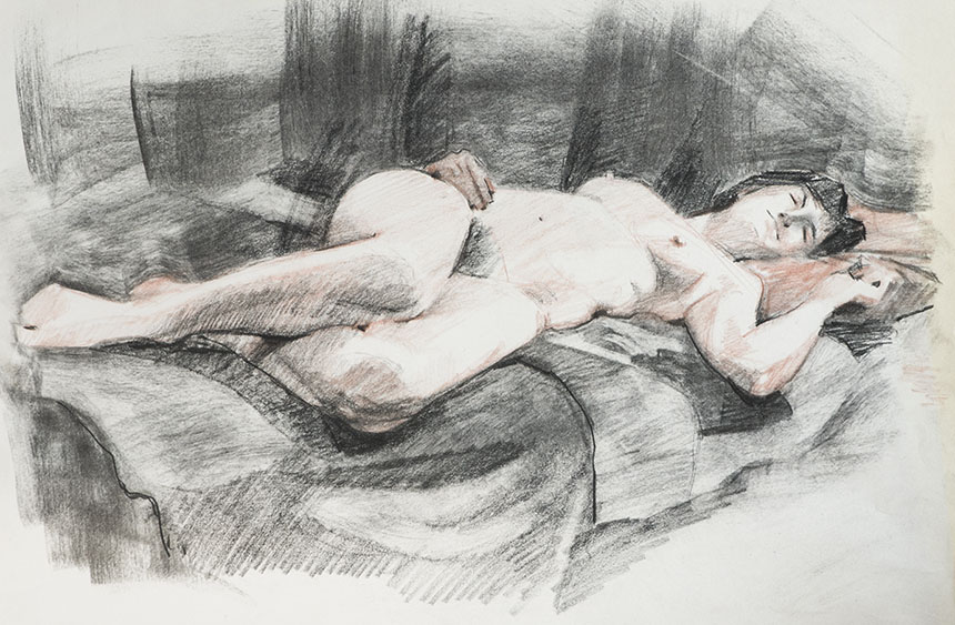 Life drawing, nude, charcoal