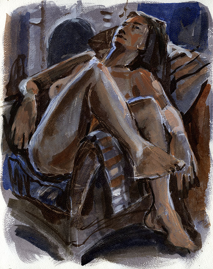 Nude, life painting, figure, woman, watercolour