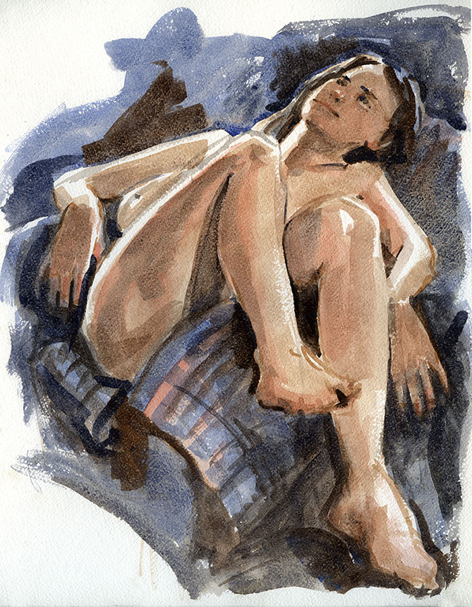 nude, figure, life painting, woman, watercolour