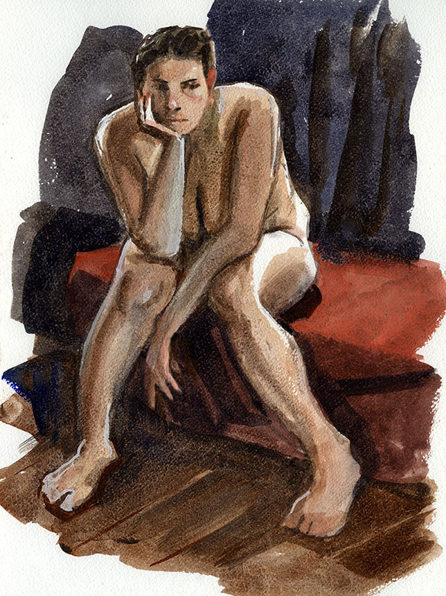Nude, figure, life painting, watercolour, woman