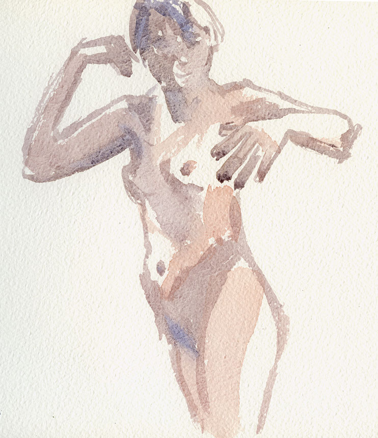 Nude, Life drawing, watercolour