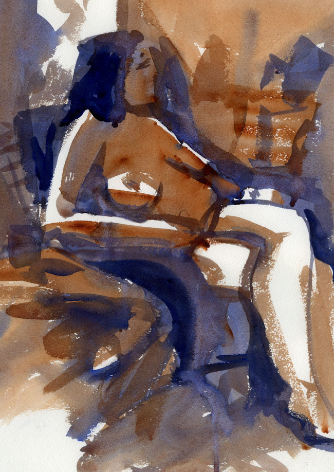 Life, drawing, figure, watercolour