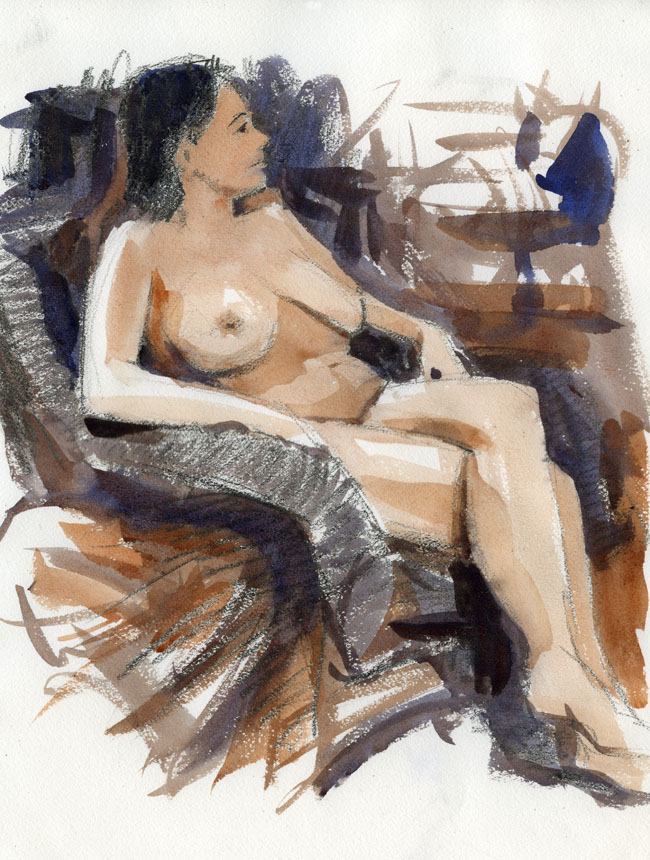 Life drawing, figure, watercolour