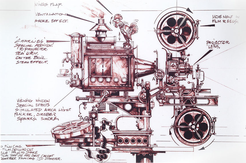Projector, drawing, John Hilder