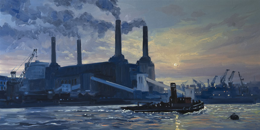 Battersea, London, Thames, Painting, oil