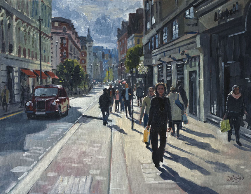 Covent, Garden, London, shopping, Long Acre, painting, oils