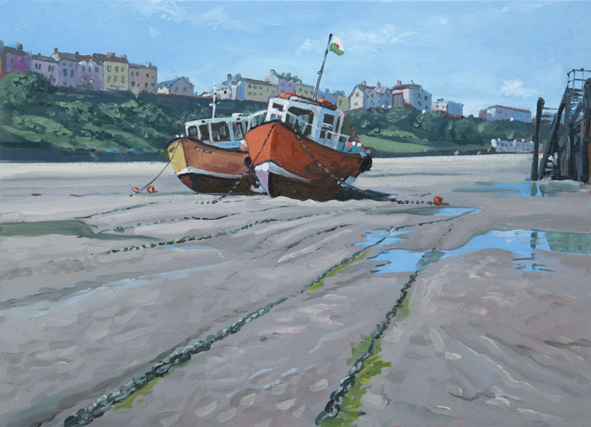 tenby Wales boat sea painting