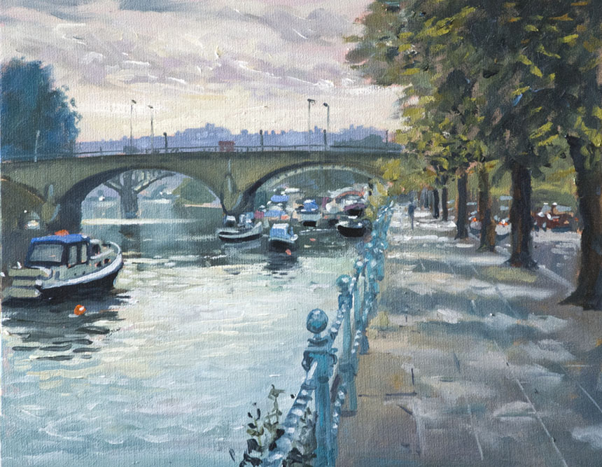 Richmond, thames, painting, oil, plein air, river, bridge