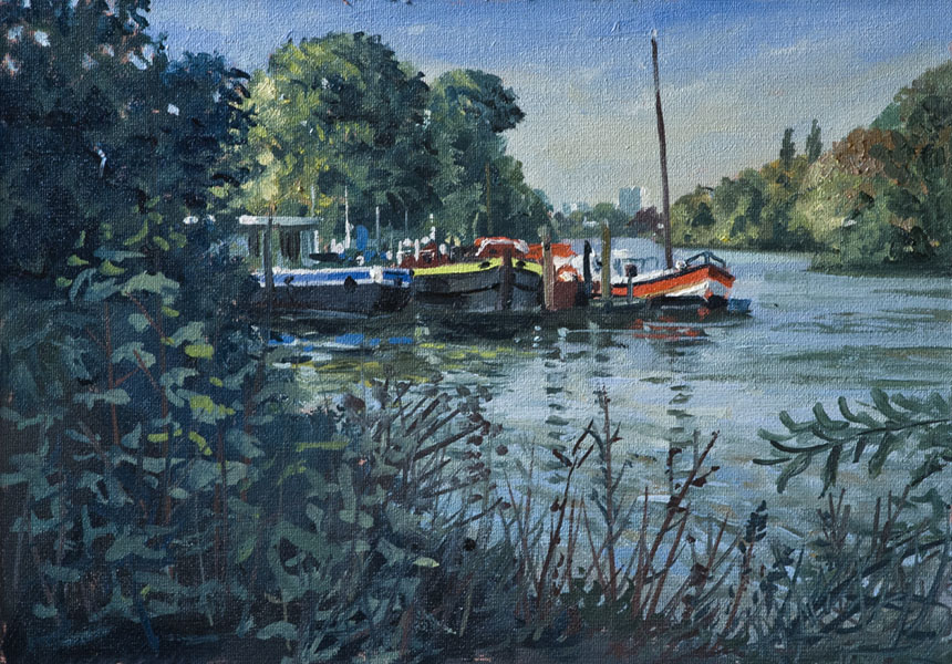 Thames, Richmond, Painting, oils, plein air