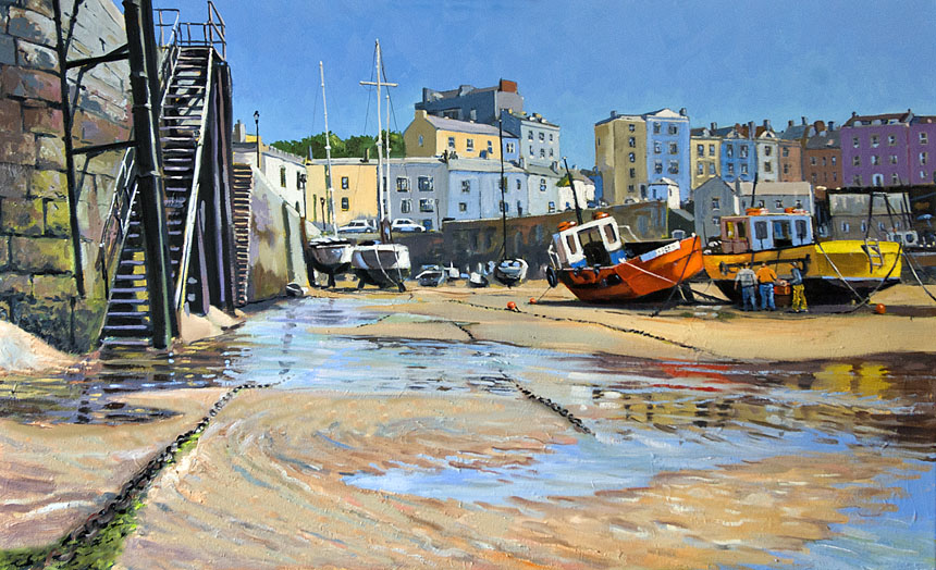 Wales, Tenby, Painting, Boats