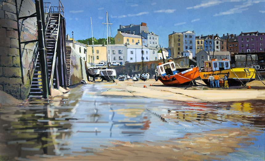 Tenby, sea, sketch, painting, wales