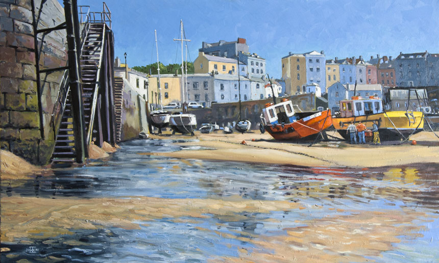 tenby, wales, painting, oils, sea, art