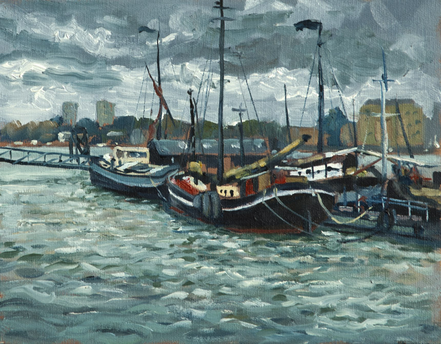 Thames, London, river, oils, plein, air