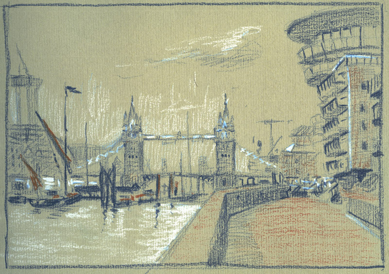 tower, bridge, london, thames, city, drawing