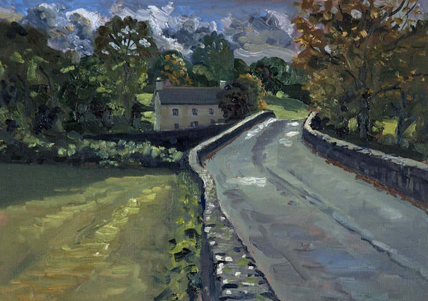 Bridge, plein air, painting, oils, wales, pembrokeshire, nevern, river
