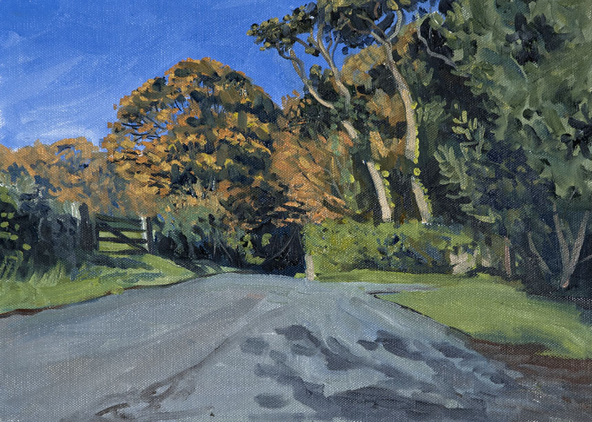Bosherton, trees, wales, plien air, painting, oils