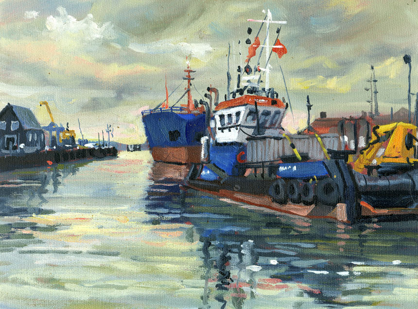 Whitstable, kent, harbour, oil painting, plein air