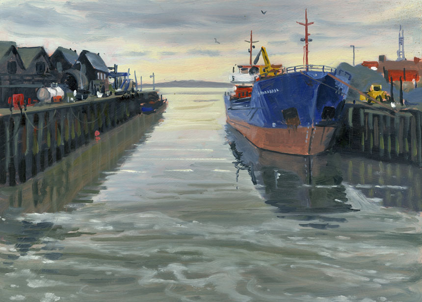 Whitstable, Harbour, ship, oil painting, plein air, sea