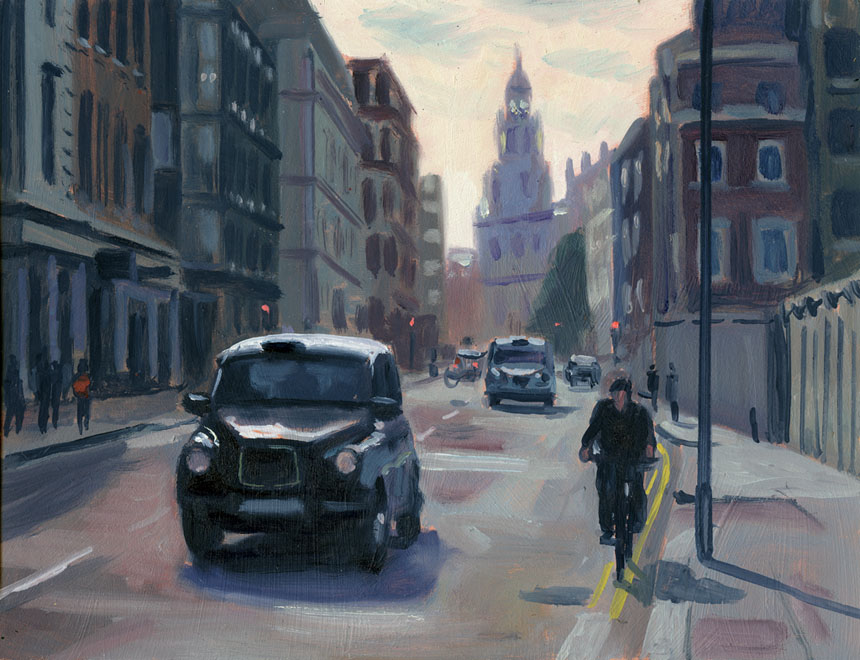 Cannon St, London, city, oil painting, plein air