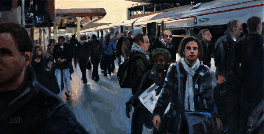 London, station, train, London Bridge, oil, painting