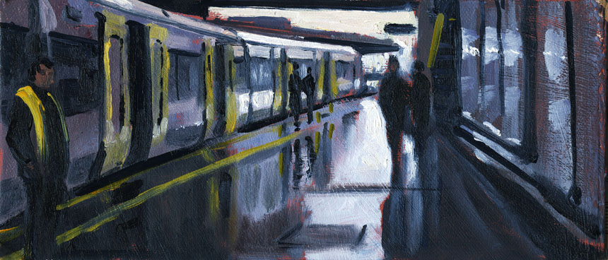 London, train, station, London Bridge, painting, oil