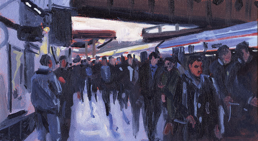 London, station, railway, train, London Bridge, oil, painting