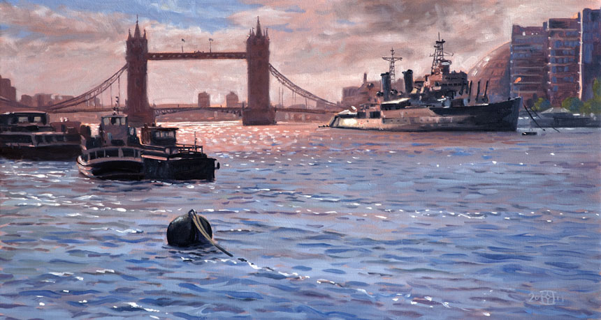 Tower Bridge, Thames, HMS Belfast, London, Oil painting